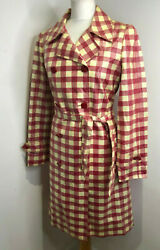 Moschino Cheap And Chic pink check coated belted trench coat mac 12 jacket