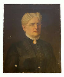 """19thc Antique American Boston Portrait Oil Painting Woman Wears Brooch Cameo 24"""""""