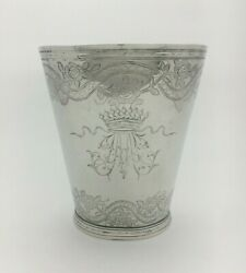 Rare Large 18th C French Provincial Silver Beaker Jacques Hanappier Orleans