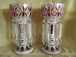 Large Pair Czech Bohemian White Overlay Cut to Cranberry Mantle Lusters