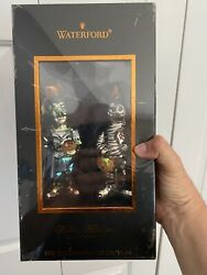 Rare Waterford Holiday Heirlooms Blown Glass Frankenstein And Mummy With Stand