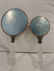 Vintage Art Deco Glass Handle And Brass Trim Hand Mirror And Brush Blue Basket Decor