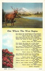 C7003 Out Where The West Begins Chapman Poem And 2 Views Vintage Pc Teich 113141