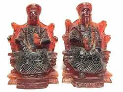 Chinese Oriental Flame Pair Statues- Lion Claws- Book End - 6 1/2 High - Rare