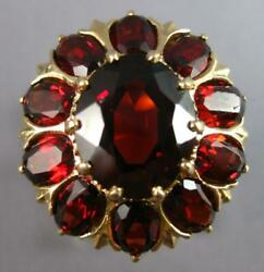 Antique Extra Large 10ct Aaa Garnet 14kt Yellow Gold Oval Flower Fun Ring 27492