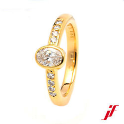Ring Solitaire Ring With Accents 18k Yellow Gold Diamond Oval Diamonds Size 52