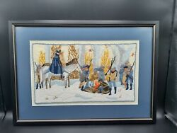 Framed Needlepoint Of George Washington And His Troops At Valley Forge 20x14