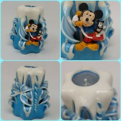 Vintage Mickey Mouse Disney Blue And White Hand Carved Candle 5 . 5 On The Phone
