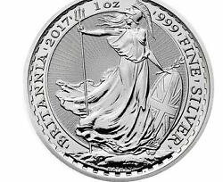 2017 1 Oz Silver Britannia 2 Pounds Coin No Privy Mint In Slab. Only 120k Made