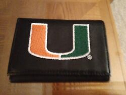 Miami Hurricanes Embroidered Black Leather Trifold Wallet By Rico Ieuc