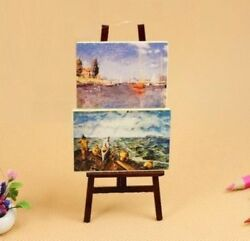 112 Dollhouse Miniature Doll Furniture Decor Wooden Easel With Two Paintings