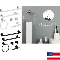 6 Piece Stainless Steel Bathroom Towel Rack Set Wall Mount Home Decoration