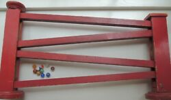 Handmade Wood Track For Marbles, 10 Vintage Marbles Included, About 75 Years Old