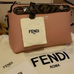 Rare Sold Out Fendi Pink Leather Boston Bag Small _35033