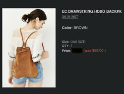 Gorgeous Urban Outfitters Brown Suede Leather Bag Backpack Nwt Handbag