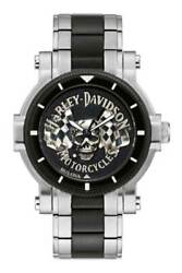 Harley-davidson Menand039s Skull And Flags Stainless Steel Watch Silver/black 78a124