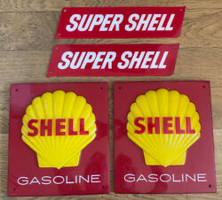 Shell Gas Pump Sign Plate Display Super Gasoline Oil Clam Vintage Original Can
