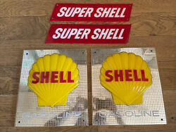 Shell Gas Pump Sign Plate Display Super Gasoline Oil Clam Vintage Original Can G