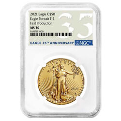 2021 50 Type 2 American Gold Eagle Ngc Ms70 1 Oz First Production 35th Annivers
