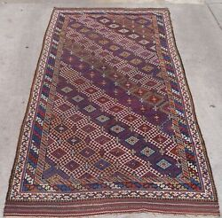 Antique Caucasian Runner Tribal Hand Knotted Wool Veg. Dyes Oriental Rug 5and039x10and039