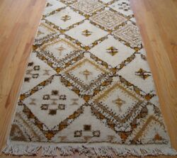 Moroccan Long Runner Hand Knotted Ivory Natural Wool Oriental Rug 2'10 X 18'