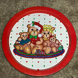 Vintage Giftco Christmas Tray Round Metal Tin Teddy Bear Family Red Rim Hearts