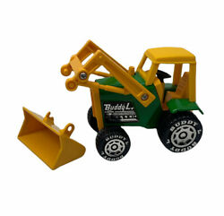 Vintage Buddy L Front End Loader Tractor Yellow Green Plastic Damaged Scoop Used
