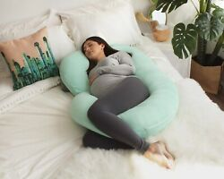 Pharmedoc Pregnancy Pillow With Jersey Cover C Shaped Full Body Pillow - Mint
