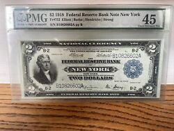 1918 2 Federal Reserve Bank Note New York Fr-752- Graded Pmg 45