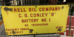 Vtg Antique Shell Oil Company Gas Corp Porcelain Lease Oilfield Well Sign 2