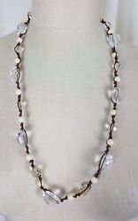 Vintage Lucite Glass Look Beads Beaded Single Strand Opera Length Necklace Facet
