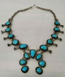 24 Native American Indian Navajo Silver Turquoise Squash Blossom Bead Necklace