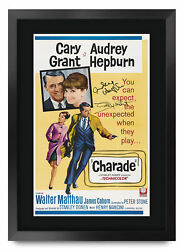 Charade A3 Framed Audrey Hepburn Cary Grant Poster Signed Print For Movie Fans