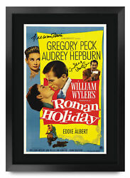 Roman Holiday A3 Framed Audrey Hepburn Gregory Peck Poster Signed Movie Fans