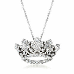 Vintage Diamond Crown Necklace In 14kt White Gold 16