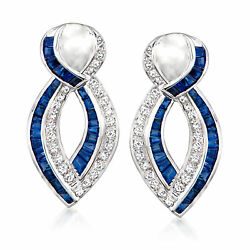 Vintage Sapphire And Diamond Twisted Drop Earrings In 18kt White Gold