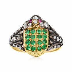 Vintage Diamond, Green Garnet And Ruby-accented Ring In Sterling Silver And 14kt