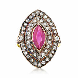 Vintage Ruby And Diamond Ring In Sterling Silver And 18kt Gold Size 7