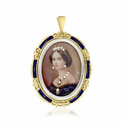 Vintage Diamond Painted Cameo Pin/pendant With Blue Enamel In 18kt Gold