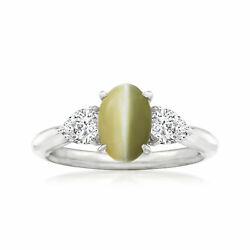 Vintage Cat's Eye Chrysoberyl Ring With Diamonds In Platinum Size 7