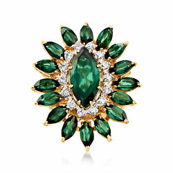Vintage Green Tourmaline And Diamond Ring In 18kt Gold Size 6