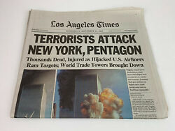 9/11 Los Angeles Times Newspaper September 12 2001 From September 11th Attack