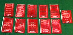 Lot Of 11 O Scale Burma Shave Sign Sets Printed Stickers