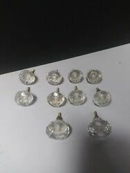 10pcs Glass Clear Door Knob Drawer Cabinet Furniture Kitchen Handle Pull