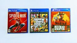 Marvel Spiderman, Red Dead Redemption 2 Ii And Grand Theft Auto V 5 [lot Of 3] Ps4