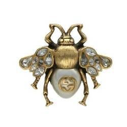 Size No.7 Bee Motif Ring Clear Gold 22.75g Hj12 Accessory 728012 _8747