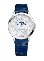 New Baume And Mercier Classima Moon Phase Swiss Quartz Womenand039s Watch 10226 Mop Dia