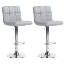 Set Of 2 Counter Height Bar Stools Pu Leather Swivel Pub Chairs Adjustable