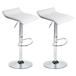 Set Of 2 Height Adjustable Pu Leather Swivel Bar Stools Counter Height Bar Chair