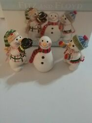 Fitz And Floyd Ceramic Frosty Friends Figurines Holiday